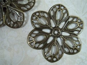 bronze metal filigree embellishments by butterbeescraps