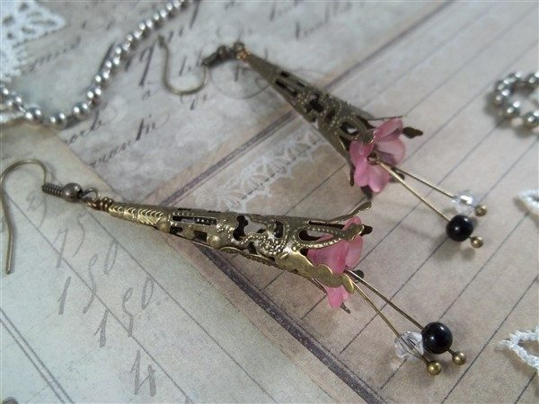 pink tulip and bronze filigree earrings by butterbeescraps