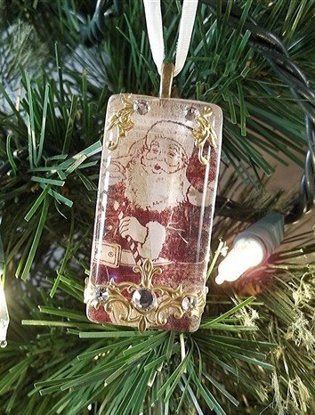 rectangular glass santa christmas ornament