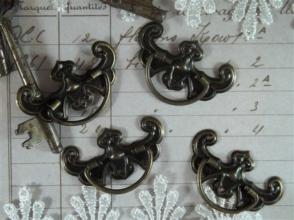 antique bronze drawer pulls by butterbeescraps
