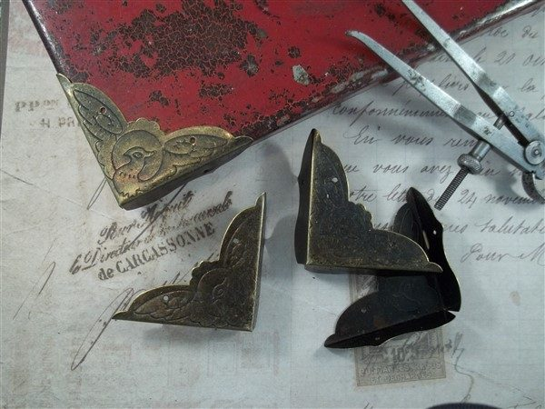antique bronze box corners by butterbeescraps