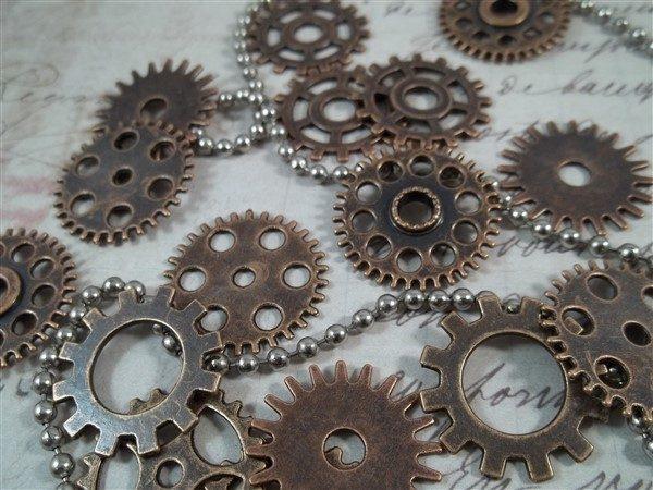 medium copper gear charms