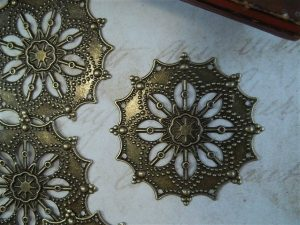 bronze metal filigree embellishment by butterbeescraps