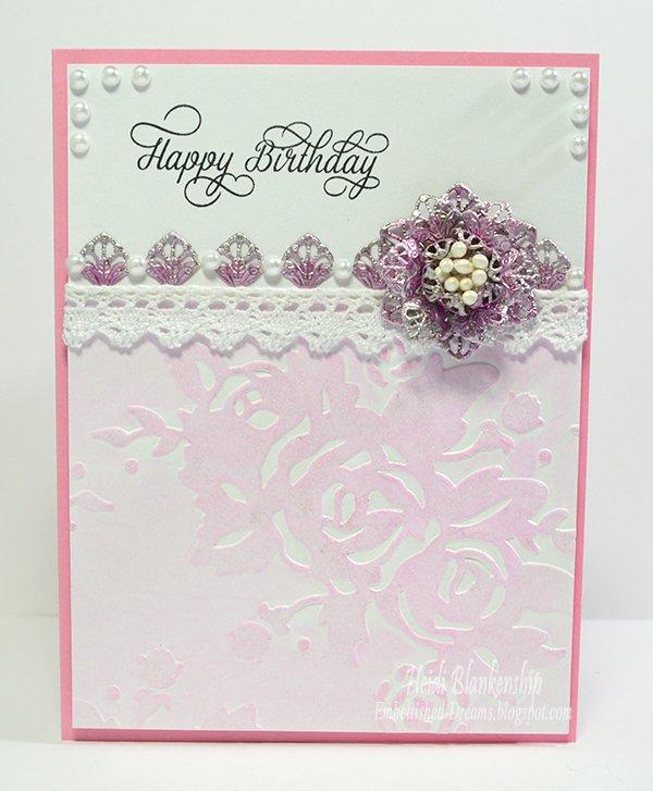 pink handmade card and tag