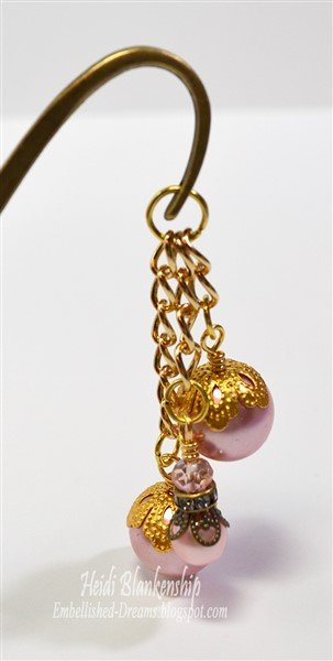 pink and gold beaded bookmark