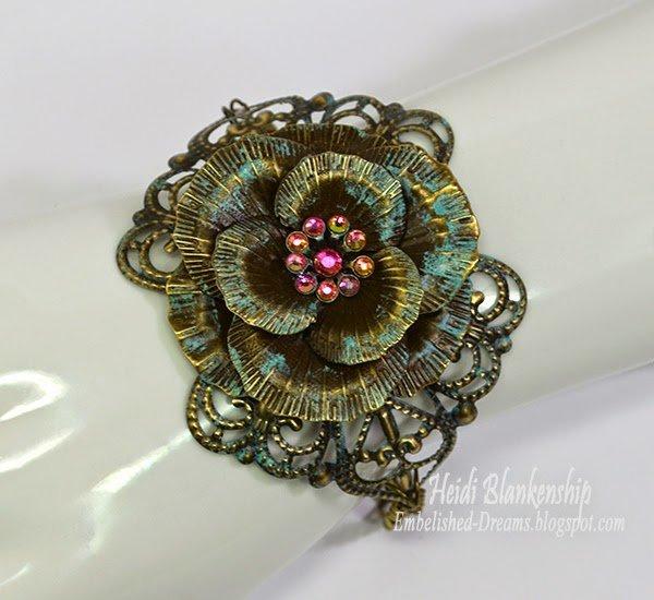 crystal and patina filigree flower bracelet