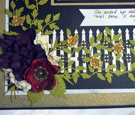 black and gold 12x12 scrapbook layout