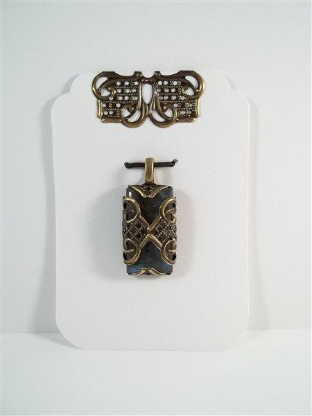 bronze filigree labradorite pendant
