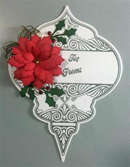 christmas ornament poinsettia gift tags
