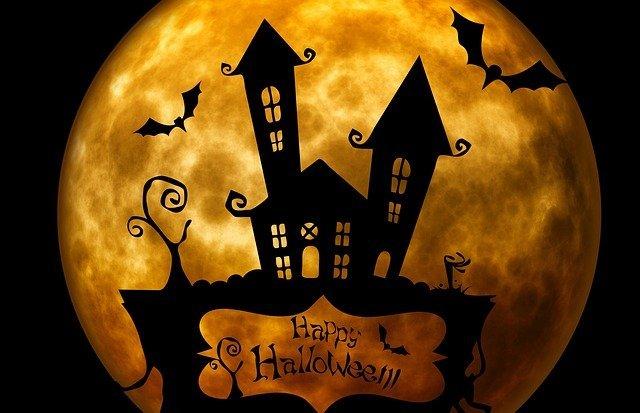 happy halloween haunted house silhouette