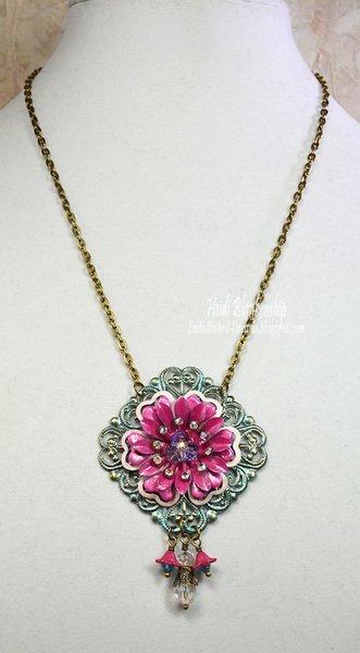 pink flower filigree necklace