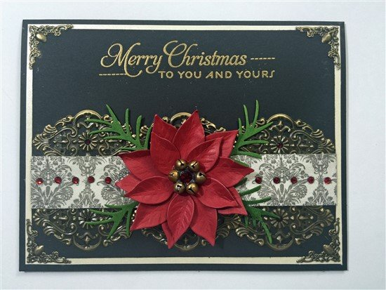black white and bronze christmas poinsettia card