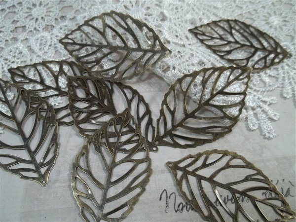 bronze skeleton leaf metal filigree embellishments