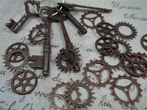 small copper gear charms