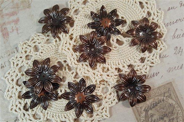 copper flower metal filigree embellishments