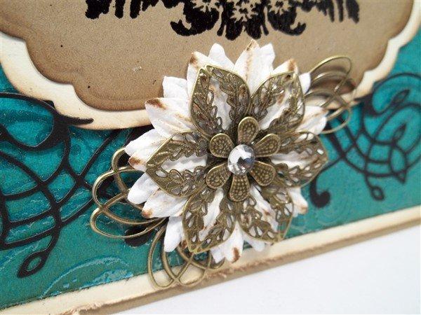 teal vintage handmade birthday card