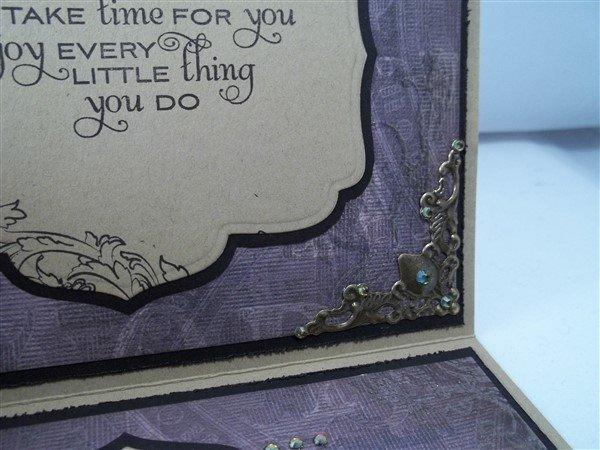 purple and bronze filigree handmade birthday card