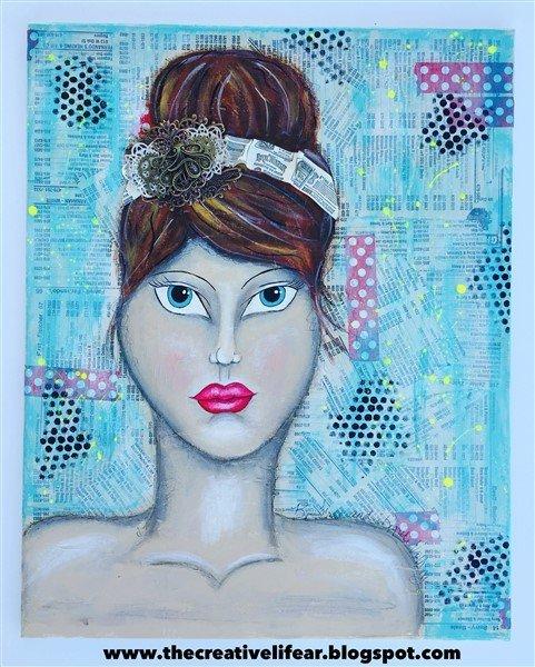 mixed media portrait canvas by keri sallee