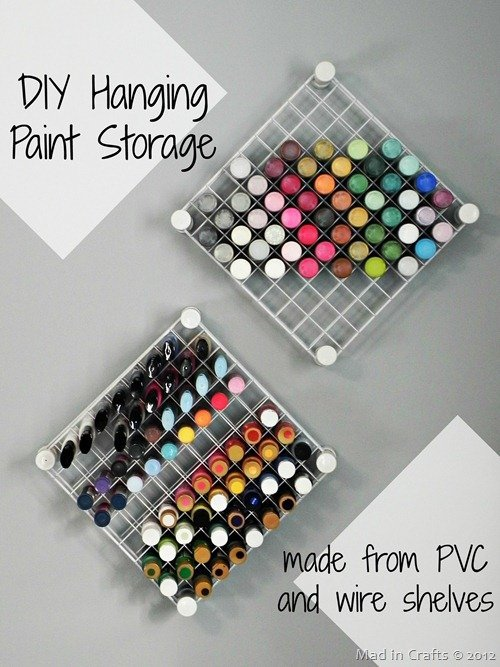 handmade paint and craft spray shelf reack