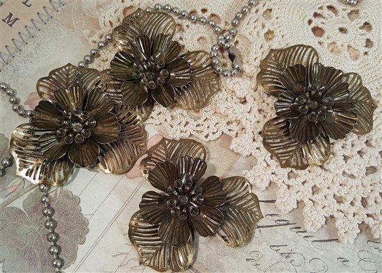 bronze dimensional flower metal filigree embellishments