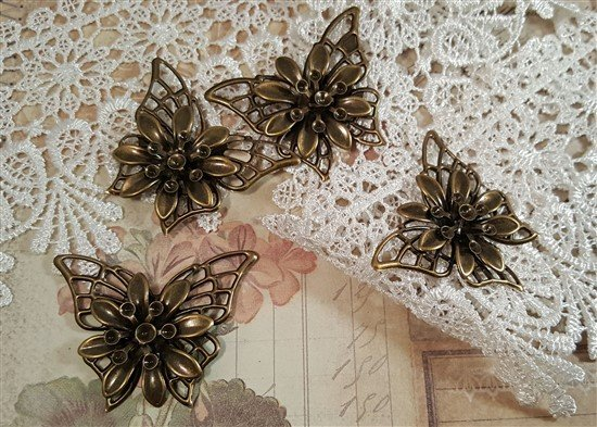 dimensional bronze butterfly metal filigree embellishments