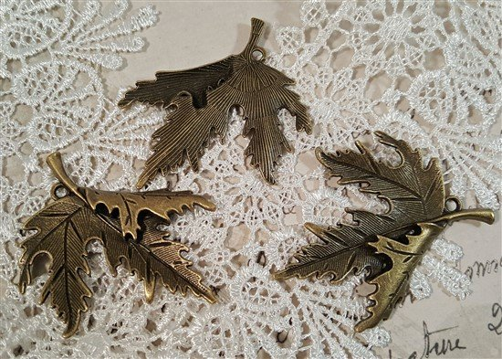 bronze tibetan style maple leaf charms