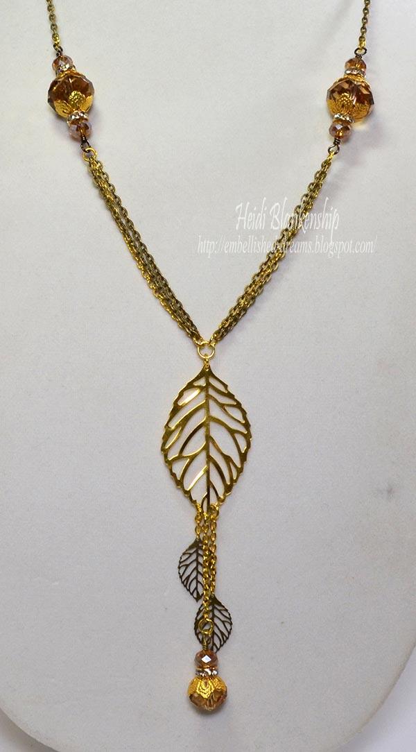 gold bronze leaf necklace by heidi blankenship