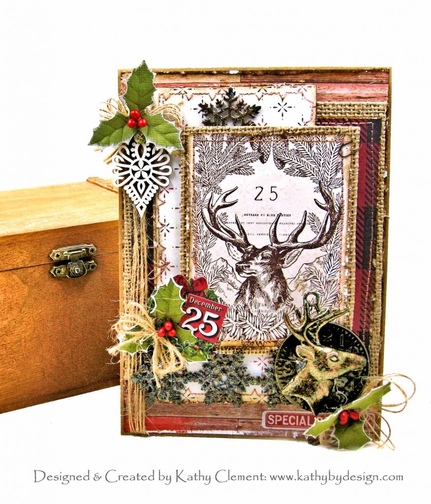 Noble Stag Christmas Card Prima Christmas in the Country ButterBee Scraps Deer Charm by Kathy Clement Kathy by Design Photo 01