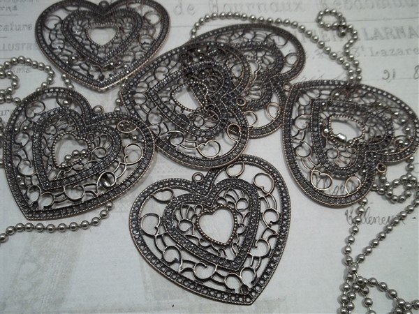 Heart Metal Filigree Embellishment (#023)