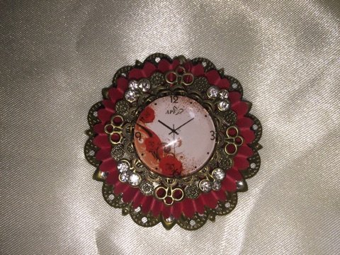 Small GLASS Clock Cabochons w/ Bronze Settings
