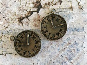 Bronze Vintage Clock Charms