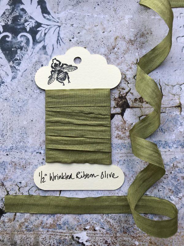 1/2 Inch Wrinkled Ribbon - Olive (#RB916)