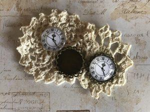Large GLASS Clock Cabochons w/ Bronze Settings