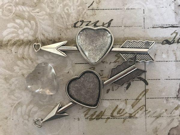 Silver Heart & Arrow Pendants w/ GLASS Cabochons (#J380-S)