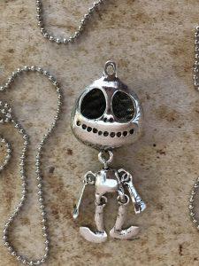 Silver Hallowe'en Skeleton Charm Pendant