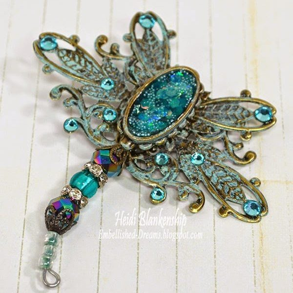 aqua and bronze filigree butterfly for butterbeescraps